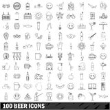 100 beer icons set, outline style Royalty Free Stock Photo
