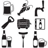 Beer icons set. Vector symbols and design elements for restaurant, pub or cafe. Beer icons set. Vector symbols and design elements for restaurant, pub or cafe stock illustration