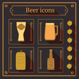 Beer icons with shadow, vector background Stock Photography