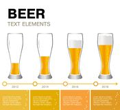Beer Infographic. timeline of achievements. Infographic elements. timeline of achievements. Glasses of beer, the different levels of the drink. Presentation vector illustration