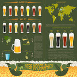 Beer infographics, set elements, for creating your own infograph Stock Image