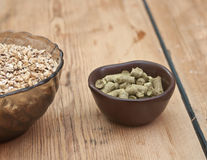Beer ingredients, hops and malt Royalty Free Stock Image