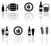 Beer isolated objects set with mirror reflection silhouette Stock Photography