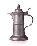 Beer jug. Antique pewter beer jug with lid on white background Royalty Free Stock Photo