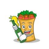 With beer kebab wrap character cartoon. Vector art vector illustration