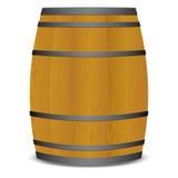 Beer keg barrel. Wooden beer keg barrel with metal straps and shadow stock illustration