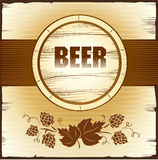 Beer keg with hop. For label, package Vector Illustration