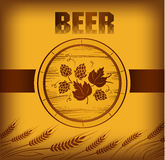 Beer keg with hop. For label, package Royalty Free Illustration