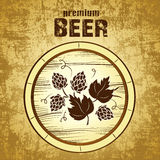 Beer keg with hop. For label, package Stock Illustration