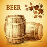Beer keg  for label, package.vintage barrel . hop Royalty Free Stock Images