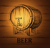 Beer keg for lable, package. wooden  vintage Royalty Free Stock Image
