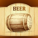 Beer keg for lable, package. wooden  vintage Royalty Free Stock Images