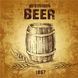 Beer keg with wheat. For label, package Stock Illustration