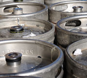 Beer kegs. There are some beer kegs - in the sunshine Stock Photos