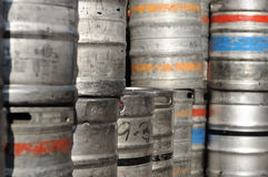 Beer kegs with colour lines. There are some beer kegs - in the sunshine Royalty Free Stock Photo