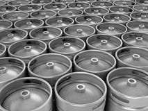 Beer kegs 3d background  on white Royalty Free Stock Photo