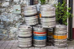 Beer Kegs. Outside pub in Dublin Ireland Royalty Free Stock Images