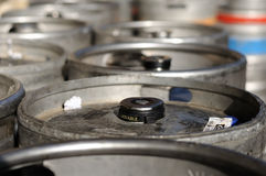 Beer kegs (top of barrels). There are some beer kegs - in the sunshine Royalty Free Stock Image