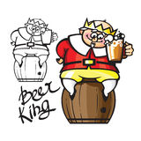 Beer King. Cartoon king sitting on a barrel and holding a mug of beer Royalty Free Stock Photography