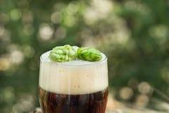 Beer, kvass malt hops. Large glass dark beer, kvass, malt, hops, barley ears standing on an old wooden table dyeing, natural background Stock Photography