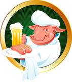 Beer label. Label with a pig the waiter, bearing a mug of beer and fried sausages. A  illustration Stock Images