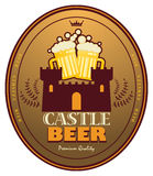 Beer label. Label with beer mugs and the text Castle Beer written inside Stock Photo