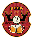 Beer label. Label with beer mugs and the text 2 Deer Beer written inside Stock Photos
