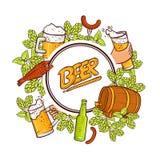 Beer label, banner, emblem design with round frame. Emblem, label design with round frame of hand drawn beer mug, glass and bottle, hops, fish, sausages, vector Stock Images