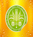 Beer label on beer background. With drops Stock Images