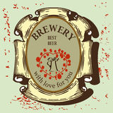 Beer label for brasserie restaurant with beer mug. Beer labels design contains images of line beer mug,ribbons,text and blossoms heart on vintage background Royalty Free Stock Image