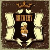 Beer label for brasserie restaurant with hop Stock Image