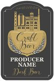 Beer label with brewery building and ears of wheat. Template beer label with wheat ears, handwritten inscription and image of building of old brewery in figured Stock Images
