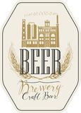 Beer label with brewery building and ears of wheat. Vector label for craft beer with wheat ears, handwritten inscription and image of building of old brewery in Royalty Free Stock Image