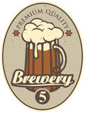 Beer label for brewery. Label for the brewery with a beer glass Royalty Free Stock Images