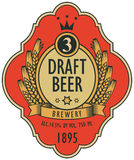 Beer label with coat of arms, ears of wheat Royalty Free Stock Photos