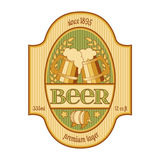Beer label design in golden and green. Royalty Free Stock Images
