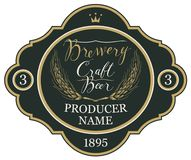 Beer label with ears of wheat and inscriptions. Template beer label with wheat ears, crown and handwritten inscriptions in figured frame. Vector label for craft Stock Image
