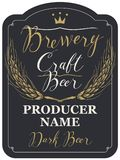 Beer label with ears of wheat and inscriptions. Template beer label with wheat ears and handwritten inscriptions in figured frame. Vector label for dark craft Stock Photos