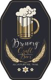 Beer label with full glass of beer and wheat ears. Template vector label for craft beer with overflowing glass of frothy beer, wheat ears and handwritten Royalty Free Stock Images