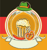 Beer label with German flag and oktoberfest symbol Stock Images