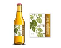 Beer label on the glass bottle mock up Royalty Free Stock Photos
