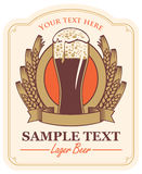 Beer label with a glass Stock Photo