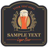 Beer label with a glass Royalty Free Stock Photos