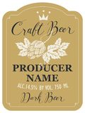 Beer label with malt hops and inscriptions. Template beer label with malt hops, crown and handwritten inscriptions in figured frame. Vector label for dark craft Royalty Free Stock Photos