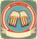 Beer label on old paper texture. Vintage royalty free illustration