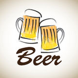 Beer label. Over old background vector illustration Royalty Free Stock Photos