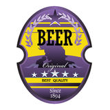 Beer label in purple and yellow Royalty Free Stock Image