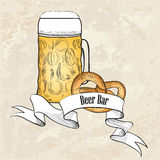 Beer label retro background. Beer glass with snack. Royalty Free Stock Photography