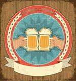 Beer label set on old paper texture.Vintage. Background with man hands royalty free illustration