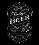 Beer label western hand drawn frame blackboard typography border Stock Photos